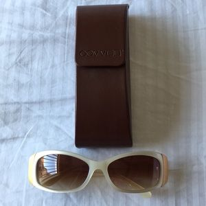 Oliver Peoples White Pearl w/ Gold Sunglasses.